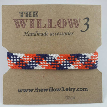 Orange, white and Blue Handmade Plaid friendship bracelet