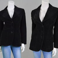 Vintage 70s Cord Jacket Womens Blazer Black Corduroy Velvet Slim Fit Tailored Fit Mod Jacket Office Wear Ribbed Cotton Sport 1970s Blazer