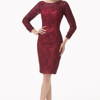 Red  Mesh Long Sleeves LAce Bodycon Mini Dress