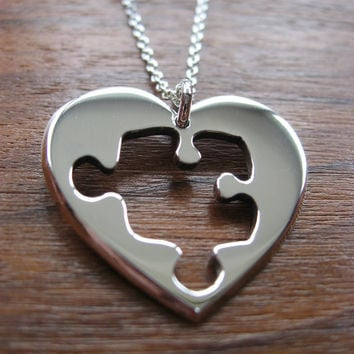 Heart with Puzzle Shape, Silver Pendant Necklace