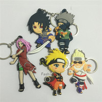Chaveiros Animation KAWAI HOKAGE Uzumaki Naruto Kakashi SASUKE Silicone Pvc Keychain Anime Cute toys both side Kids Toy Doll