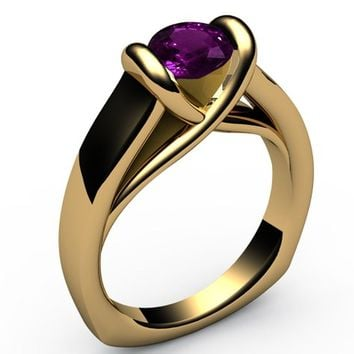 Amethyst Ring Unique Engagement Ring Solitaire Ring Bar setting Tension Heavy Ring 18K Yellow gold For Her as Christmas Gift
