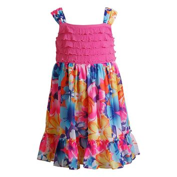 Youngland Floral Eyelash Dress - Girls