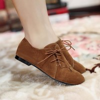 Oxford Shoes For Women Large Size 34-43 Women's Fashion Shoes Woman Flats Spring Female Ballet Metal Round Toe Solid Casual B-5