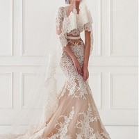 [228.99] Chic Tulle & Satin Jewel Neckline Mermaid Wedding Dresses With Lace Appliques - dressilyme.com