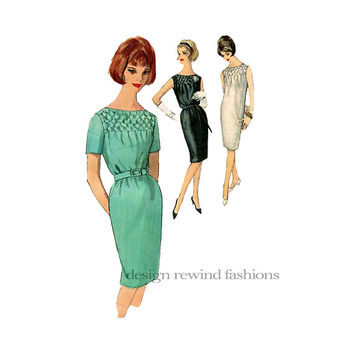 1960s SMOCKED DRESS Cocktail Day Party Dress Bateau Neckline Short Sleeves Sleeveless Bust 31 Simplicity 4826 UNCUT Vintage Sewing Patterns