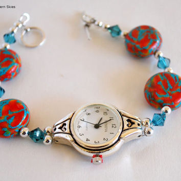 Southwestern Watch, Ladies Watch, Teal and Pink Beads, Handmade, Stainless Steel, Beaded Band, Polymer Beads, Fashion Watch, Artisan Jewelry