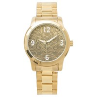 Trendy men's gold like medal watch with numbers