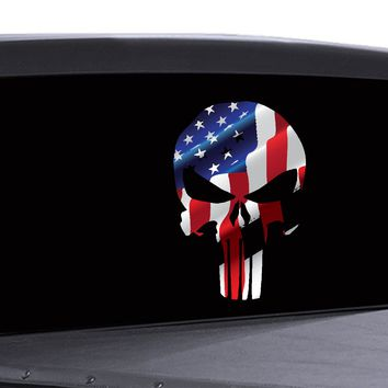 Punisher Skull Window Decal American Flag Vinyl Graphic Military Dodge Ford V2