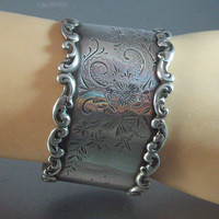 Vintage Victorian Etched Sterling Cuff Bracelet, Ornate Repousse, Wide 1.5""
