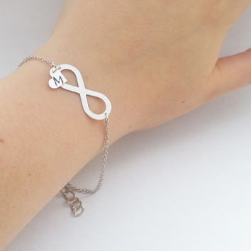 Custom order sterling silver bracelets with infinity sign and stamped hearts bridesmaid gift wedding jewelry