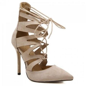 Pointed Toe Lace Up Stiletto Heel Pumps - Apricot 40