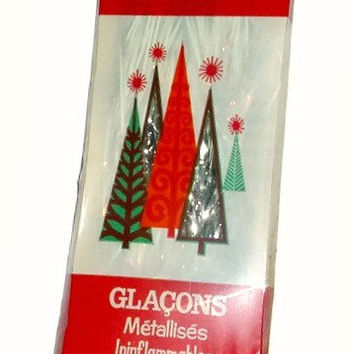 Mid Century TINSEL ICICLES Silver Metallic Vintage Christmas Tree Ornaments Decorations UNUSED Sealed in Box Flameproof New Old Stock Decor