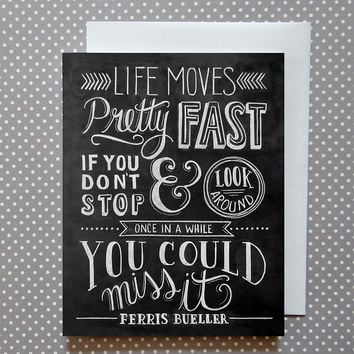 Life Moves Fast Chalkboard Art Cards 8-Pack