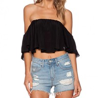 Chiffon Frill Cropped Swing Top