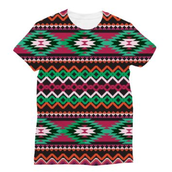 Pixalized Red and Green Aztec Subli Sublimation T-Shirt