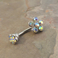 AB Crystal Daisy Flower Belly Button Jewelry Ring