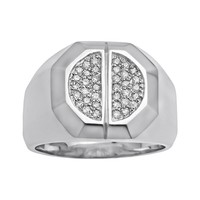 Sterling Silver 1/4-ct. T.W. Diamond Ring - Men (White)