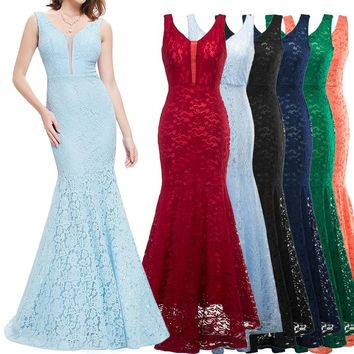 2018 New Spring Summer Fashion Sexy Woman Long Dress Elegant For Evening Party Femme Wedding Robe Vintage Lace Mermaid Dresses
