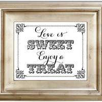 8x10 Love Is Sweet Candy Buffet Bar White Wedding Sign Black Friday AND Cyber Monday Sale
