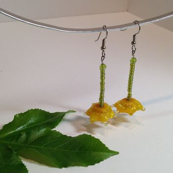 Buttercup / Dangle Earrings / Handmade Lampwork Beads / Monet Inspired / Golden Yellow / One-of-a-kind / Handmade Beads / Glass Flowers