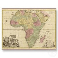 Vintage 1725 Africa Map Postcards from Zazzle.com