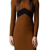 Minimalist Back Zipper Bodycon Long Sleeve Dress