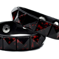 Blood Splatter (2 Pack) Pyramid Stud Wristbands Horror Bracelets