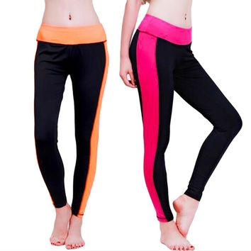 Patchwork Color Quick Drying Slim Fitness Elastic Stretch Sports 7 Leggings free shipping