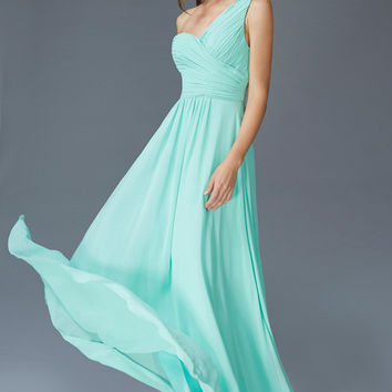 G2028 Long One Shoulder Chiffon Bridesmaid Dress or Formal