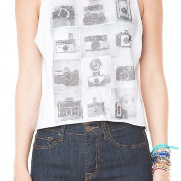 Brandy ♥ Melville |  Sadie Vintage Camera Tank - Graphic Tops - Clothing