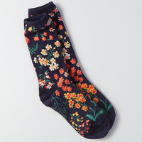 AEO Floral Crew Socks, True Black