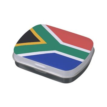 Patriotic candy tins with Flag of South Africa