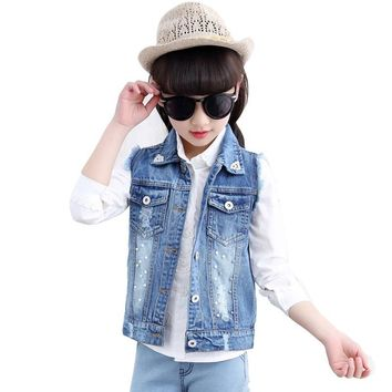 Trendy Girls Denim Vest 4-13Y Kids Cowboy Vest Waistcoat Sleeveless Jean Jackets Children Outerwear DQ767 AT_94_13