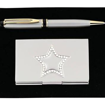 Free Engraving 2 Piece Office Gift Set with Business Card Holder and Pen