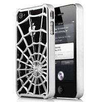 Premium Spiderman Style Silver Metallic Spider Web Hard Case For Apple iPhone 4S / 4 (AT&T, Verizon, Sprint)