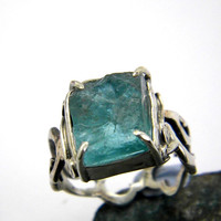 Apatite ring sterling silver raw apatite crystal rough apatite gemstone ring, cocktail ring size 7.25, apatite jewelry, raw stone jewellery