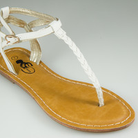 White braided sandal
