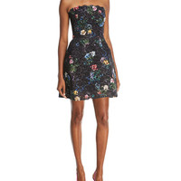 Monique Lhuillier Strapless Beaded Lace Cocktail Dress