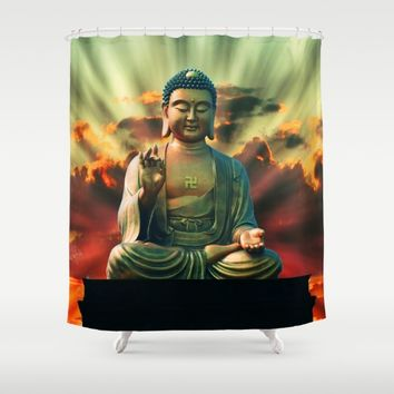 Buddha Sunrise Shower Curtain by Inspired Images
