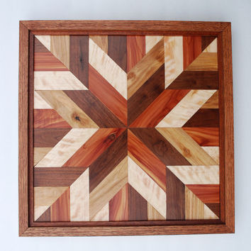 Quilt Star Wood Wall Art, Amish Style Rustic Wall Decor, Wood Wall ...