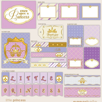 Royal Little Princess - Purple Lavender Party Décor Suite - Printable Supplies by Paperholic