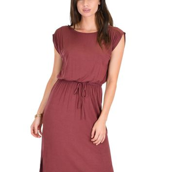 Lyss Loo My Everyday Tie Waist Marsala Midi Dress