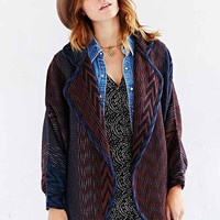 Ecote Dolman-Sleeve Jacquard Sweater Coat- Black Multi