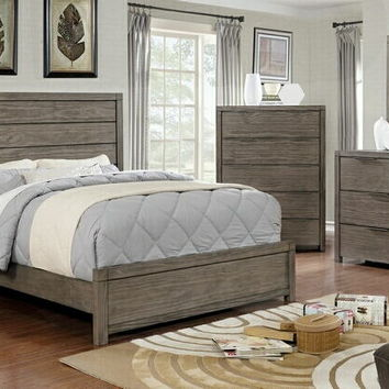 5 pc Asterope II collection rustic gray finish wood paneled headboard queen bedroom set