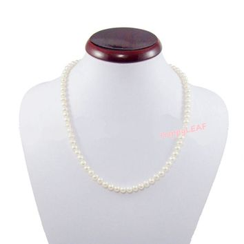 """5-6mm White Freshwater Pearl Sterling Silver Clasp Necklace Strand 18"""" Bridal"""