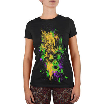 Mardi Gras Carnival Mask Splatter Black Juniors Soft T-Shirt