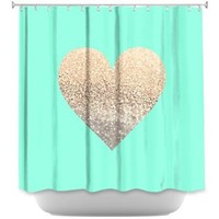 DiaNoche Designs Shower Curtains by Monika Strigel Stylish, Decorative, Unique, Cool, Fun, Funky Bathroom - Gatsby Gold Mint Heart
