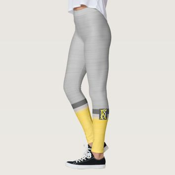 Simple Two Tone Yellow and Grey Initials Monogram Leggings