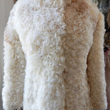 Mongolian Lamb Coat Curly Lamb Coat Saks Fifth Avenue Winter Fur Coat Boho Winter Jacket 1970s Mod White Fur Jacket, Tibetan Fur Jacket